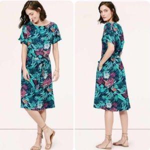 Ann Taylor LOFT Tropical Print Midi Dress Petite